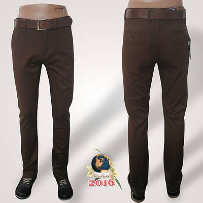 Джинсы-брюки зауженные коричневого цвета с ремнём 32 размер