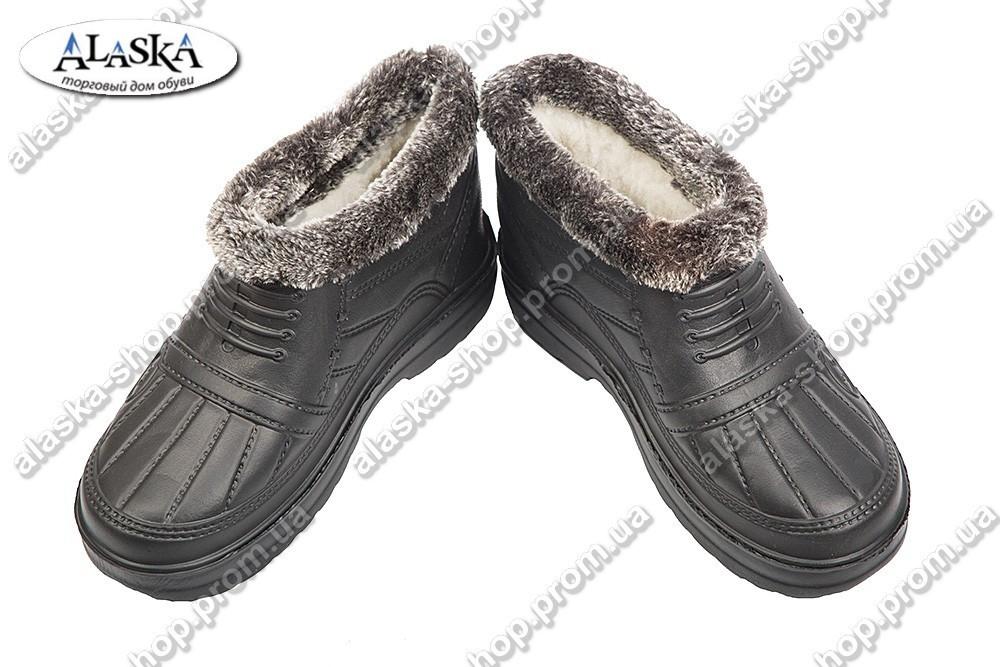 Мужские галоши меховые черные (Код: ГП-03 мех)