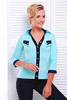 Офисная мятная блузка - рубашка с  рукавом 3/4 Ярослава 42-50 размеры