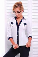 Офисная белая блузка - рубашка с  рукавом 3/4 Ярослава 42-50 размеры