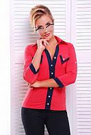Офисная кораловая блузка - рубашка с  рукавом 3/4 Ярослава 42-50 размеры