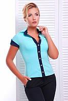 Молодежная мятная блузка - рубашка с короткими рукавами  Кристи 42-50 размеры