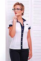 Молодежная белая блузка - рубашка с короткими рукавами  Кристи 42-50 размеры