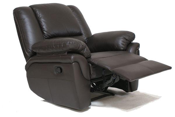 Кожаное кресло реклайнер ALABAMA, черный (98 см)