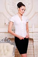 Элегантная белая блузка - рубашка с короткими рукавами  Нимфа 42-50 размеры