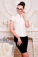 Элегантная  молочная блузка - рубашка с короткими рукавами  Нимфа 42-50 размеры