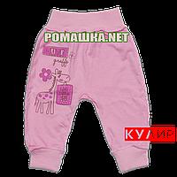 Штанишки на широкой резинке р. 68 ткань КУЛИР 100% тонкий хлопок ТМ Алекс 3178 Розовый1