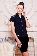 Элегантная темно-синяя блузка - рубашка с короткими рукавами  Нимфа 42-50 размеры