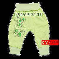 Штанишки на широкой резинке р. 80-86 ткань КУЛИР 100% тонкий хлопок ТМ Алекс 3178 Зеленый 80 А