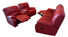 Мягкое кожаное кресло ALASKA. Реклайнер (98 см), фото 3