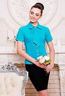 Классическая бирюзовая блузка - рубашка с короткими рукавами Юлиана 42-50 размеры
