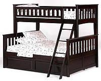 Кровать Жасмин двухъярусная, цвет венге 140/190 с ящиками