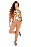 """Женский трикотажный спортивный костюм """"MiMi"""" с заплатками и оригинальным принтом (2 цвета)"""