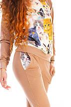 """Женский трикотажный спортивный костюм """"MiMi"""" с заплатками и оригинальным принтом (2 цвета), фото 3"""