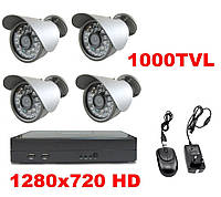 Комплект видеонаблюдения  4 камеры 1000TVL DVR H960