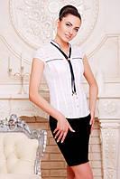Офисная белая блузка - рубашка с короткими рукавами Маргарита 42-50 размеры