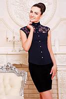 Офисная темно-синяя блузка - рубашка с короткими рукавами Лола 42-50 размеры
