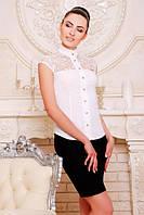 Офисная белая блузка - рубашка с короткими рукавами Лола 42-50 размеры