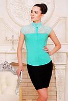 Офисная  мятная блузка - рубашка с короткими рукавами Лола 42-50 размеры