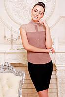 Офисная бежевая блузка - рубашка с короткими рукавами Лола 42-50 размеры