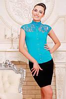 b3d69e60b67 Офисная бирюзовая блузка - рубашка с короткими рукавами Лола 42-50 размеры