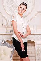 Офисная молочная блузка - рубашка с короткими рукавами Пандора 42-50 размеры