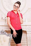 Офисная  коралловая блузка - рубашка с короткими рукавами Пандора 42-50 размеры
