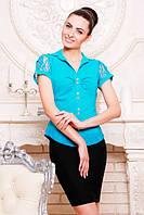 Офисная бирюзовая блузка - рубашка с короткими рукавами Пандора 42-50 размеры