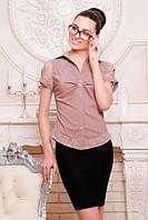 Офисная бежевая блузка - рубашка с короткими рукавами Пандора 42-50 размеры
