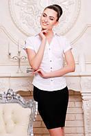 Офисная белая блузка - рубашка с короткими рукавами Пандора 42-50 размеры