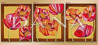 """Схема для частичной вышивки бисером """"Маки"""", триптих 412"""