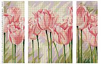 """Схема для частичной вышивки бисером """"Нежные тюльпаны"""", триптих 410"""