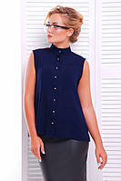 Офисная темно-синяя блузка - рубашка  Шейла 42-50 размеры