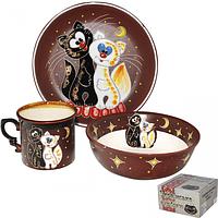 Набор детский Коты, 3 пр. (чашка-280мл, пиала-500мл, тарелка-19,5см)