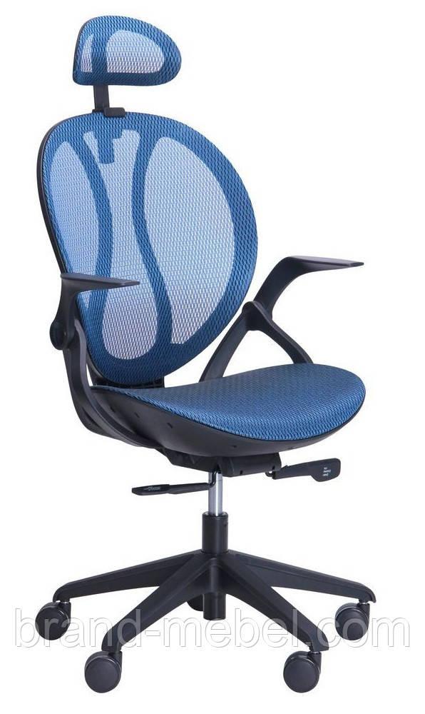 Кресло Lotus HR черный (сетка синяя)