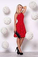 Красивое красное платье в полоску