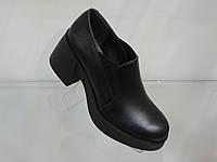 Модные кожаные женские туфли на широком массивном каблуке