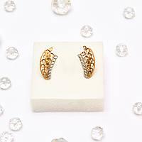 Золотые серьги с цирконием / фианитами 65868