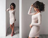 Женское замшевое платье с длинным рукавом (10 цветов) + большие размеры