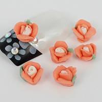Розочки из акрила персиковые 5 мм, 10 шт.