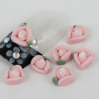 Розочки из акрила розовые 5 мм, 10 шт.