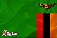 Флаг Замбии 80*120 см.,флажная сетка.,2-х сторонняя печать