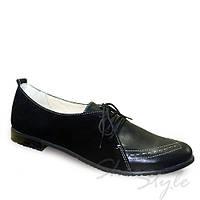 Женские кожаные туфли  на низком каблучке со шнуровкой