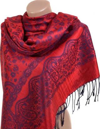 Яркий женский кашемировый палантин размером 70*180 см Подиум 32079-1 (красный)