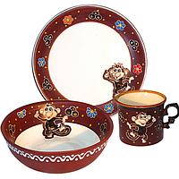 Набор детский Обезьяна в танце, 3 пр. (чашка-280мл, пиала-500мл, тарелка-19,5см)
