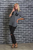 Рубашка женская в клетку серая, фото 1