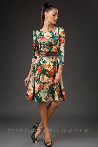 Платье женское с поясом цветочный принт