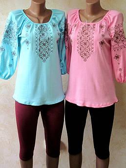 Женская вышиванка Стиль Размер 36 - 54 белая, розовая, бирюза