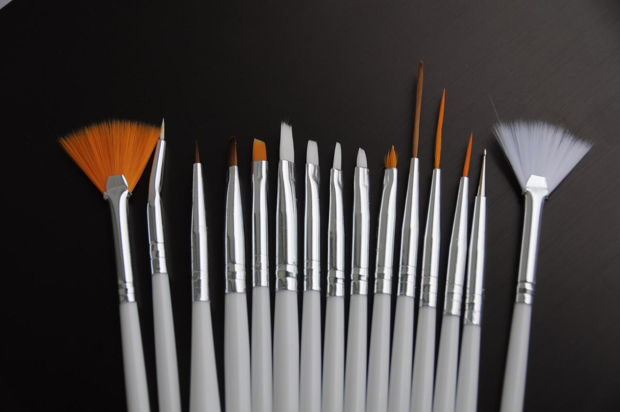 Кисти для дизайна ногтей (набор 15 шт)
