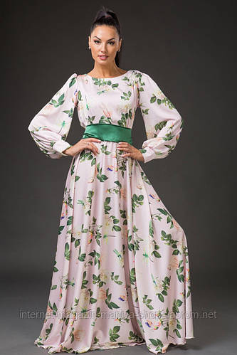 Платье женское с поясом цветочный принт в пол